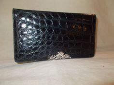 Beautiful Black vintage crocodile clutch bag made for Harrods with silver cherub by VintageHandbagDreams on Etsy