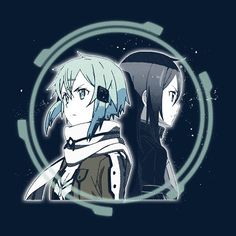 """Sinon & Kirito"" by zRiSes is $10 today at ShirtPunch.com (04/15). #tshirt #SwordArtOnline #Sinon #Kirito #Manga #Anime"
