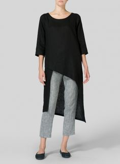 Black Linen Asymmetrical Tunic - Plus Size Half Sleeves, Types Of Sleeves, Dresses With Sleeves, Loose Dresses, Linen Shop, Black Linen, Plus Size Blouses, Plus Size Outfits, Blouses For Women