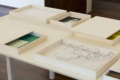 Fernanda Fragateiro:  Materials Lab (Demo), 2017  Set of plywood boxes and various work and research materials, variable dimension