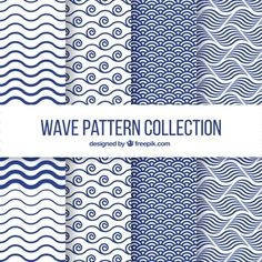Set of four wave patterns in flat design Vector Geometric Patterns, Graphic Patterns, Textures Patterns, Fabric Patterns, Print Patterns, Wave Design, Flat Design, Surface Design, Design Design