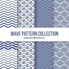 Set of four wave patterns in flat design Vector Wave Pattern, Pattern Art, Pattern Design, Textures Patterns, Fabric Patterns, Print Patterns, Vektor Muster, Motif Paisley, Motifs Textiles