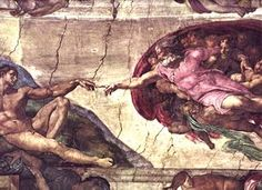 The Creation of Adam is a section of Michelangelo's fresco Sistine Chapel ceiling painted circa 1511. It illustrates the Biblical story from the Book of Genesis in which God the Father breathes life into Adam, the first man. Chronologically the fourth in the series of panels depicting episodes from Genesis on the Sistine ceiling, it was among the last to be completed.