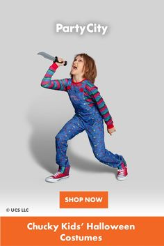 Shop now for all your kids Halloween costumes at Party City. Family Costumes, Chucky, Halloween Costumes For Kids, Kids Playing, Shop Now, Children, Fun, Shopping, City