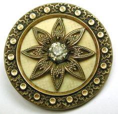 Antique Victorian Celluloid Button Brass Filigree Flower w Paste Center Accent | eBay