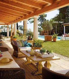 Small covered patio ideas on a budget outdoor rooms ideas Pergola Patio, Diy Patio, Backyard Patio, Patio Ideas, Pergola Kits, Landscaping Ideas, Porche Chalet, Outdoor Rooms, Outdoor Living