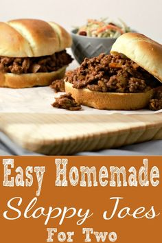 This Best Homemade Sloppy Joes recipe for two is easy to prepare, inexpensive, and quick, ready in j Best Homemade Sloppy Joe Recipe, Homemade Sloppy Joes, Sloppy Joes Recipe, Single Serve Meals, Single Serving Recipes, Cooking For A Crowd, Cooking On A Budget, Small Meals, Meals For Two
