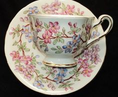 Royal Chelsea Pastel Blue Pink Purple Flowers Gold Footed Tea Cup and Saucer