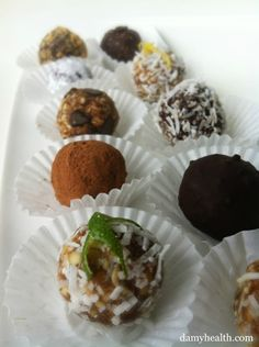 22 Varieties of Raw Truffles, Chocolates and Cookies! Cherry Pie, Amaretto Fudge, Mocha Chocolates, the list goes on and on!