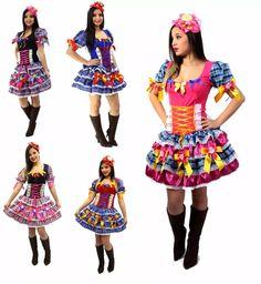 vestido junino adulto roupa festa junina caipira  p ao gg