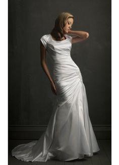 Fancy Short Sleeve Column Court Train Straps Satin Wedding Dresses - Wedding Dresses