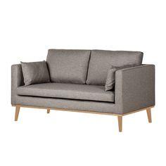 Sofa Dauphine (2-Sitzer) - Webstoff - Fischgrätmuster - Grau