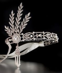 Great Gatsby Wedding Headpiece Headband with Rhinestones and Pearls from Cassandra Lynne