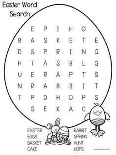 Trendy Easter Games For Kids Classroom Word Search Easter Games For Kids, Easter Activities, Spring Activities, Activities For Kids, Easter Worksheets, School Worksheets, Worksheets For Kids, Easter Puzzles, Easter Printables