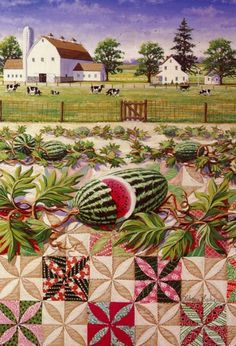 ~ Amish In Art ~ Sarah's Country Kitchen ~ Melon Patch by Rebecca Barker House Quilts, Barn Quilts, Farm Art, Country Art, Country Kitchen, Landscape Quilts, Sewing Art, Landscape Illustration, Pics Art