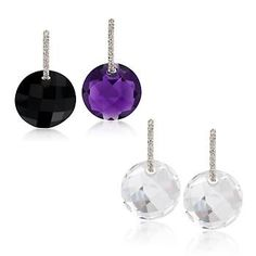 Can't decide what to wear for your date? You can wear these earrings as just diamond hoops or add one of the three pairs of gemstone drops: rock crystal, amethyst and black agate to create a variety of looks. >>Click on the Earring Set to see more options at Ross-Simons.