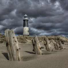 East Riding of Yorkshire, UK: Spurn Lighthouse beneath ominous skies