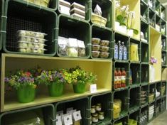 milk crate shelves....use instead of buying additional storage...group inbetween u shaped groups Milk Crate Shelves, Milk Crate Storage, Crate Shelving, Plastic Milk Crates, Flower Shop Design, Crate Seats, Pallet Crates, Wood Crates, Modular Shelving