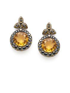 Diamond Teardrop Cluster & Citrine Disc Drop Earrings