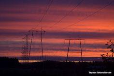 Aamun sarastus elokuussa Dawn in august Utility Pole, Wind Turbine, Dawn, Scenery, About Me Blog, Landscape, Paisajes, Nature