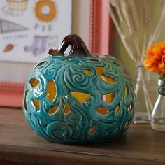Turquoise Pre-Lit Flowing Ceramic Pumpkin