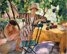 'jardin dans été', huile sur toile de Henri Lebasque (1865-1937, France)