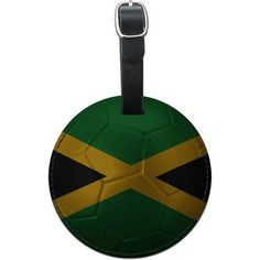 Jamaica Flag Soccer Ball Futbol Football Round Leather Luggage ID Tag Suitcase, Multicolor