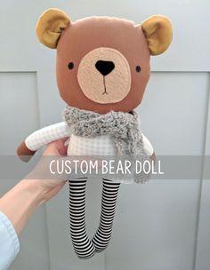 Custom Bear Doll Customized for You Handmade Doll Rag Doll