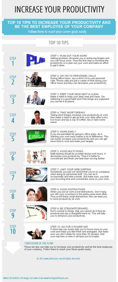 Increase Your Productivity - Top 10 Tips To Increase Your Productivity And Be The Best Employee Of Your Company #infographic