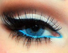 bright blue liner on the waterline helps blue eyes seem even brighter!