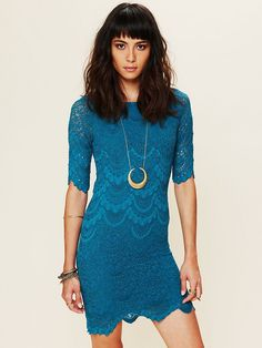 Teal Lace Dress + Crescent Moon Necklace