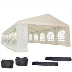 32'x16' PE Party Tent White - Heavy Duty Wedding Canopy Carport Shelter - with Storage Bags - By DELTA Canopies >>> Visit the image link more details.-It is an affiliate link to Amazon.