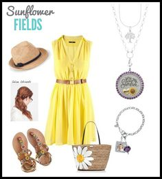 Spring Outfit featuring Origami Owl Amethyst Crystal Locket. Click the pin to follow me on Facebook! #origamiowl #yellowdress #springoutfit