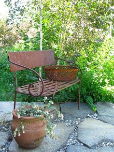 A rusting bench for sipping wine and a rustic clay pots for oregano at FerncliffRusting Bench on the Terrace ⓒ 2010 Michaela at TGE Organic Gardening, Gardening Tips, Gardening Quotes, Rusty Garden, Old Benches, Iron Bench, Little Gardens, Garden Seating, Garden Benches