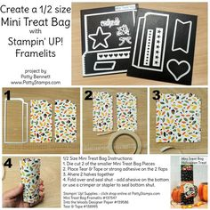 PattyStamps Tutorial: How to make a 1/2 size Mini Treat Bag for Halloween or party favors with the Stampin' UP! Mini Treat Framelit die and your Big Shot