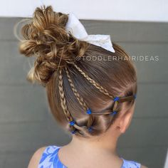 "Toddler Hair Ideas (@toddlerhairideas) on Instagram: ""Diagonal elastics, braids, and a side messy bun! Cute bow from @bellabeanbows!"""