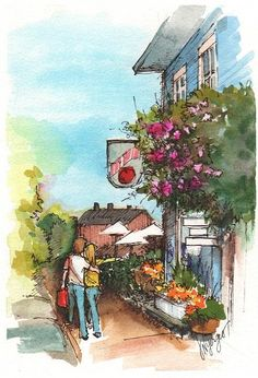 Shoppers stroll past the Braeburn Restaurant on Second Street in Langley on Whidbey Island, WA. Watercolor Sketchbook, Pen And Watercolor, Watercolor Artists, Watercolor Paintings, Ink Paintings, Whidbey Island Washington, Sketchers, Wall Art, Travel Journals