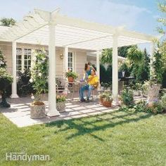 Build a vine-covered pergola in your backyard to shade a stone patio or wood deck using wood beams and lattice set on precast, classical-style columns.  The dappled sunlight created by the overhead latticework creates a cool, relaxing environment perfect for backyard entertaining – like standing in the shade of a tree on a hot summer day.