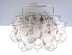 Vintage Libby glass set with ice bucket and caddy by ThatRetroGirl