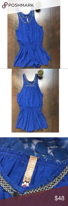 """Free People FP Aztec Embroidered Lace Romper Free People FO Royal blue Aztec lace embroidered romper. button down front. Elastic at the waist. 30"""" from shoulder to hem, 30-31"""" chest, 23"""" stretchy waist. EUC. Minor signs of wear. Free People Pants Jumpsuits & Rompers"""
