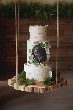 the prettiest birch cake i've ever seen. love the chalk board  and greenery.