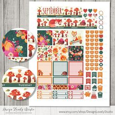 Printable Planner Stickers for Happy Planner, September monthly planner kit with gorgeous foxes and autumn floral motifs