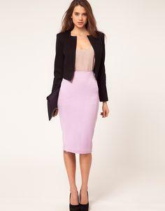 Structured black blazer + lilac.