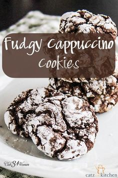 Who doesn't enjoy a chocolatey cookie? (Yes, it's a real word - I looked it up!) Then the added espresso makes them extra special! Everyone will love these soft, delicious, but low-calorie crinkles! Fudgy Cappuccino Cookies ~ Club31Women