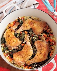 Chicken leg quarters simmer together with a bounty of vegetables and rice in this adaptable recipe. Use parsnips if you don't have carrots, spinach if you don't have Swiss chard. And while the recipe calls for basmati rice, you can use Carolina, converted, or jasmine rice.