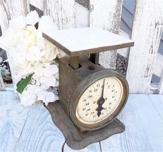 Antique RUSTIC SHABBY CHIC Green and White by HuckleberryVntg, $39.00