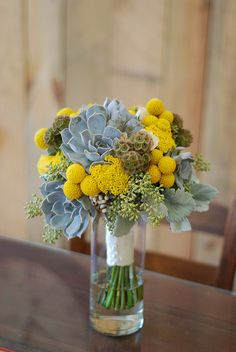 Succulent, Scabiosa pods, Billy buttons, Yarrow, Dusty Miller, Spray roses, Texas Tallow Berries, Seeded Eucalyptus Bouquet - floral design and photo by Amrose Flowers | amroseflowers.com | Raleigh, NC