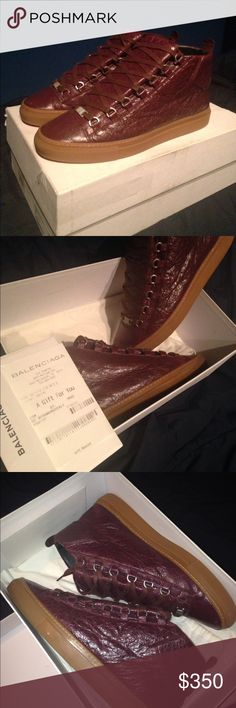 Maroon/Red Dust Balenciaga Arena VNDS/Like New. Comes with box, shoe bag, and receipt. Balenciaga Shoes Sneakers