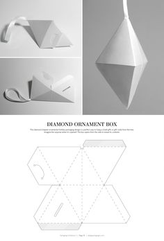 Diamond Ornament Box – FREE resource for structural packaging design dielines Packaging Dielines, Packaging Box, Paper Packaging, Cardboard Paper, Diy Paper, Paper Crafts, Diy Gift Box, Diy Box, Creative Box