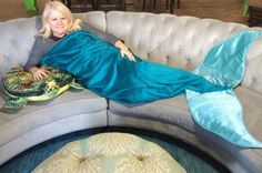 Adult Fleece Mermaid Tail Blanket with Crushed Velvet Fins